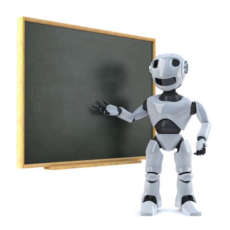 stood: 3d render of a robot stood next to a blackboard