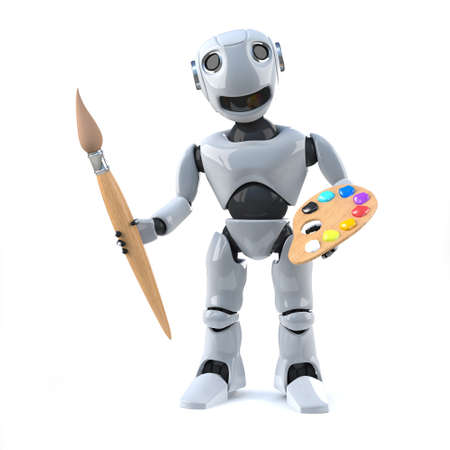 automaton: 3d render of a robot holding a paintbrush and palette Stock Photo