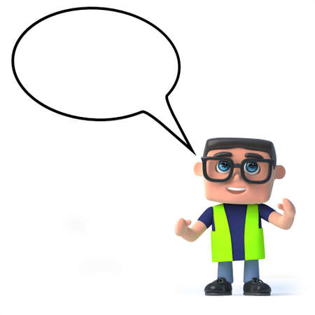 construction safety: 3d render of a health and safety worker with an empty speech bubble.