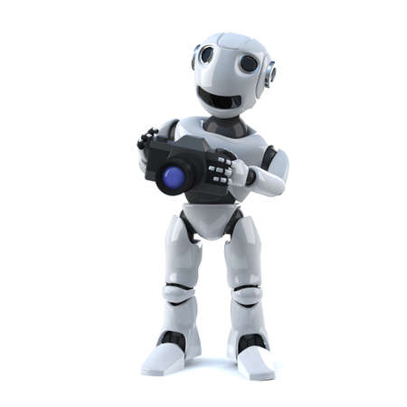 snaps: 3d render of a robot using a camera. Stock Photo
