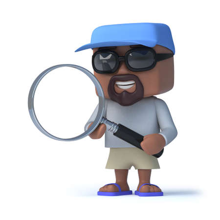sport man: 3d render of a sailor type person holding a magnifying glass Stock Photo