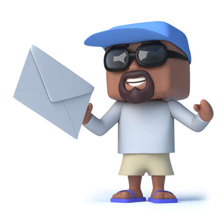 dude: 3d render of a retired sailor dude holding an envelope Stock Photo