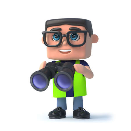 safety officer: 3d render of a health and safety officer holding a pair of binoculars