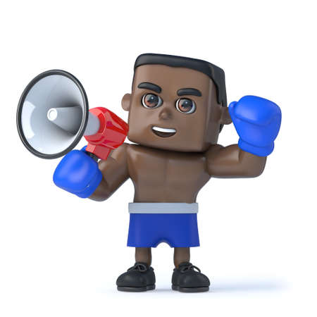 amplify: 3d render of a black boxer using a megaphone to make an announcement.