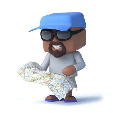 navigational: 3d render of a sailor type person holding a map or navigational chart.