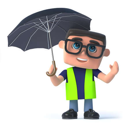 security safety: 3d render of a health and safety worker holding an open umbrella