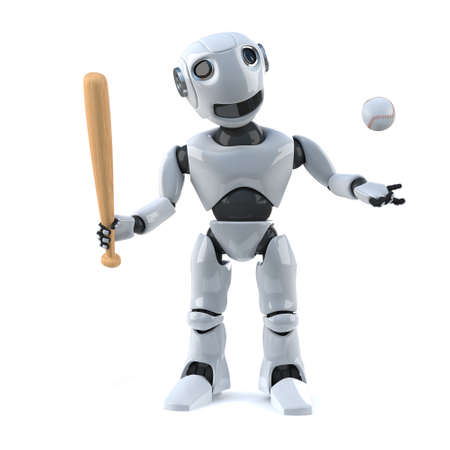 automaton: 3d render of a robot holding a baseball bat and throwing a baseball in the air. Stock Photo
