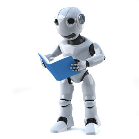 droid: 3d render of a robot reading a book.