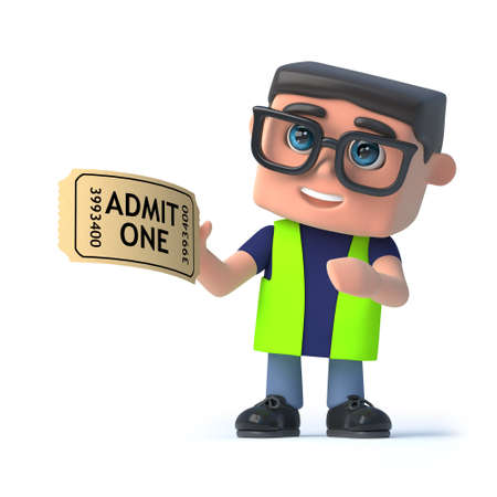 preventing: 3d render of a health and safety worker holding an admission ticket.
