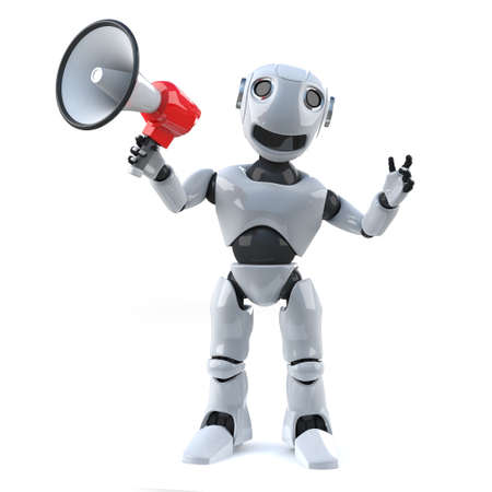 amplify: 3d render of a robot amplifying his voice with a megaphone.