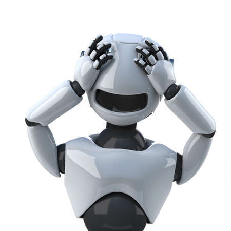 droid: 3d render of a robot with his hands over his eyes
