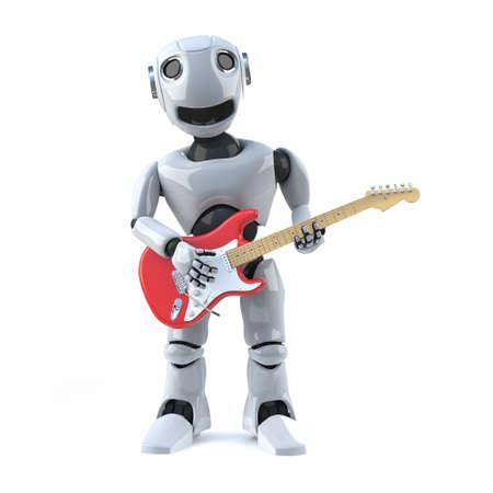 droid: 3d Robot plays electric guitar