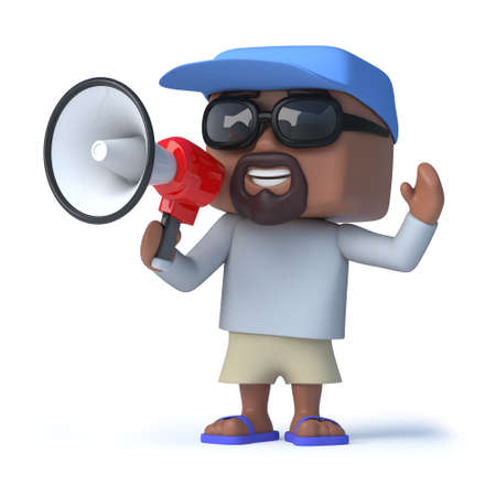 amplify: 3d render of a sailor dude holding a megaphone to his mouth Stock Photo