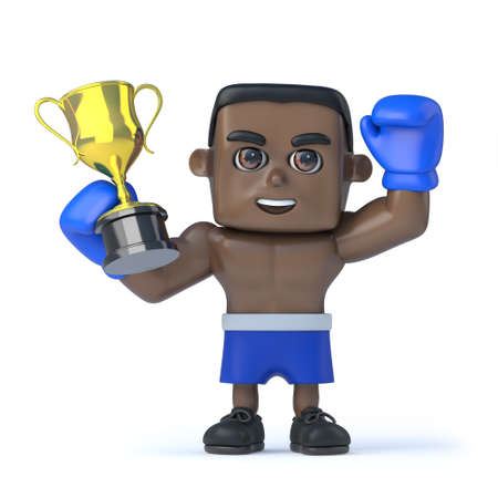 gold cup: 3d render of a black boxer holding up a gold cup trophy in victory