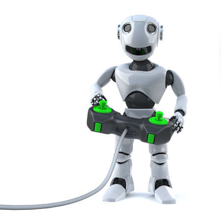 playing video games: 3d render of a robot playing video games with a joystick controller peripheral. Stock Photo