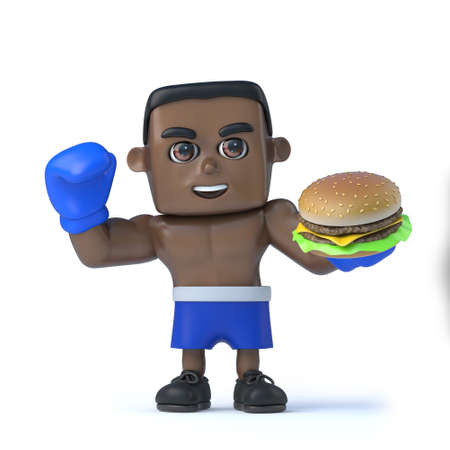 beefburger: 3d render of a black boxer holding a beefburger