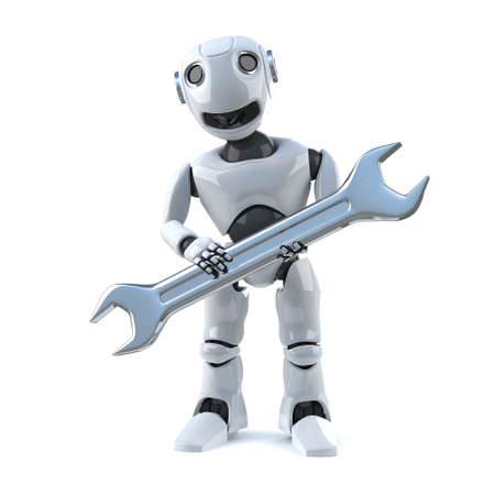 droid: 3d render of a robot holding a chrome spanner