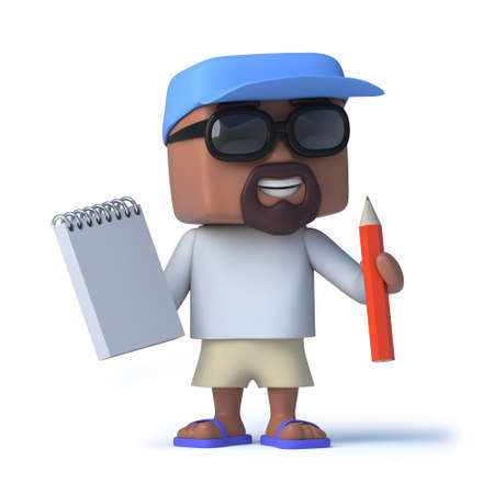 chap: 3d render of a sailor chap holding a notepad and pencil Stock Photo