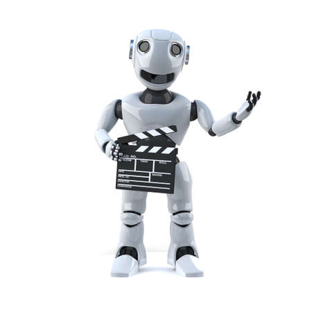 droid: 3d render of a robot holding a movie making clapperboard.