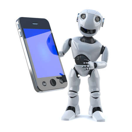 automaton: 3d Robot with smartphone