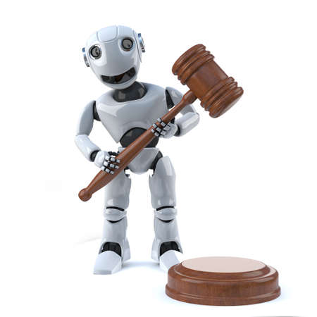automaton: 3d render of a robot holding an auctioneers gavel