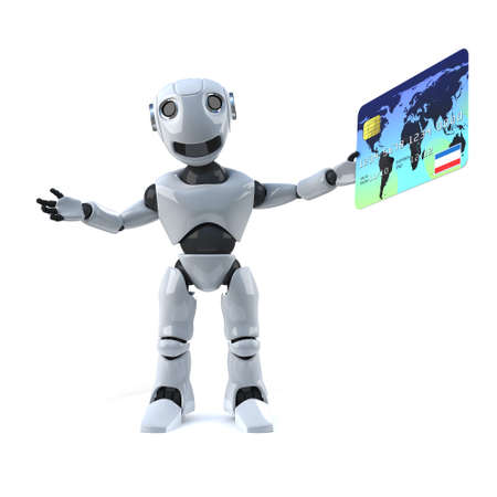 debit card: 3d render of a robot holding a debit card Stock Photo