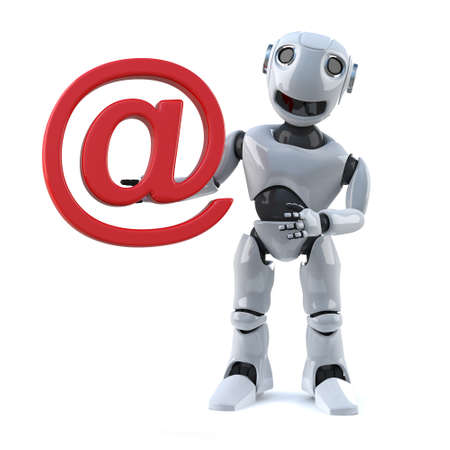 automaton: 3d render of a robot holding an email address symbol