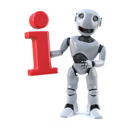 automaton: 3d render of a robot holding an information symbol