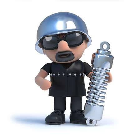 shock absorber: 3d render of a biker holding a shock absorber suspension unit.