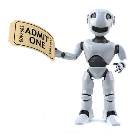 automaton: 3d render of a robot holding a ticket of admission to the show