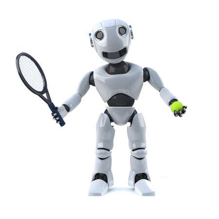 racquet: 3d render of a robot holding a tennis racquet and tennis ball. Stock Photo