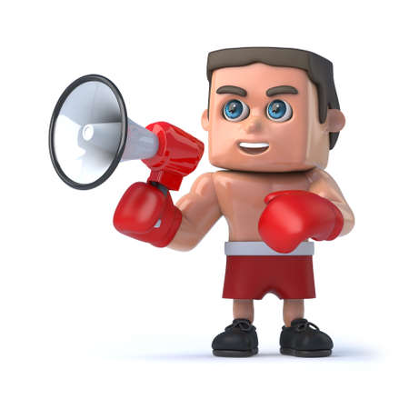 amplify: 3d render of a boxer holding a megaphone