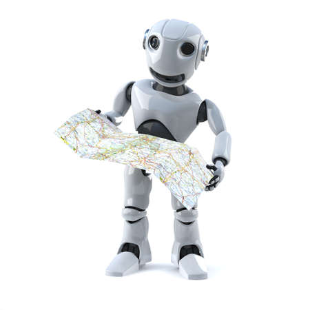 automaton: 3d render of a robot reading a map Stock Photo