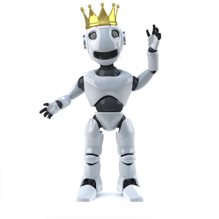 gold crown: 3d render of a robot wearing a gold crown Stock Photo