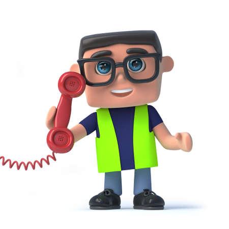 environmental conversation: 3d render of a health and safety worker holding a telephone handset