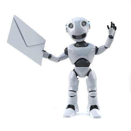 rende: 3d rende of a robot holding an envelope