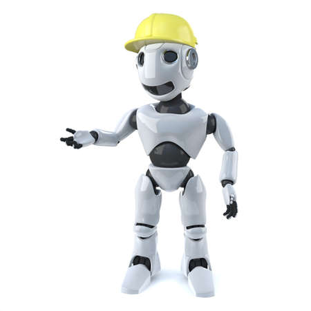 hard hat: 3d render of a robot wearing a yellow hard hat