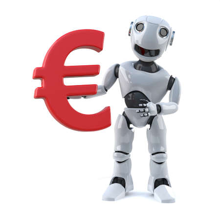 currency symbol: 3d render of a robot holding a Euro currency symbol Stock Photo