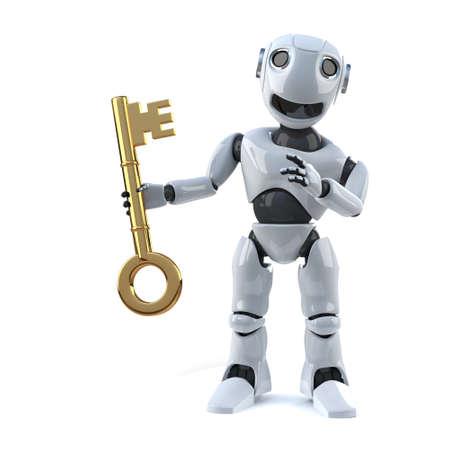 automaton: 3d render of a robot holding a golden key Stock Photo