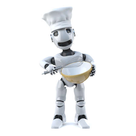 whisk: 3d render of a robot wearing a chefs hat and holding a whisk and mixing bowl Stock Photo