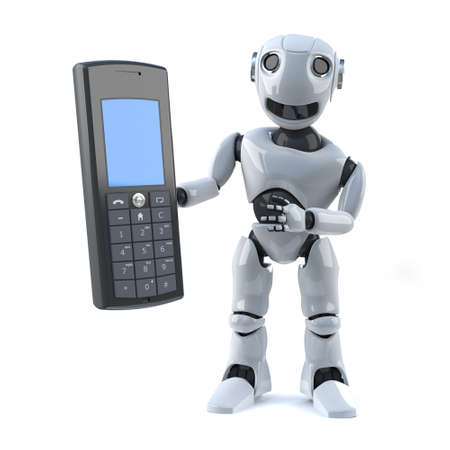 automaton: 3d render of a robot holding a mobile phone Stock Photo
