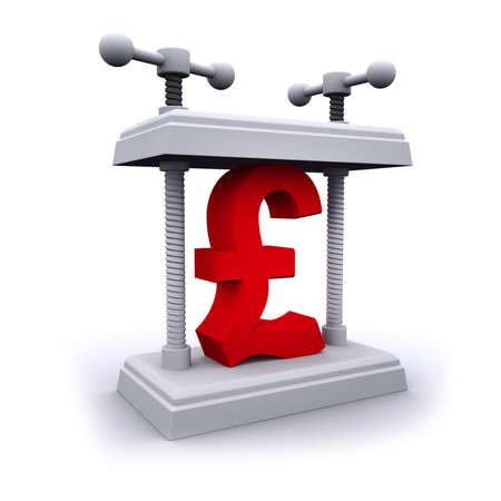 3d Render Of A Uk Pounds Sterling Currency Symbol Being Crushed