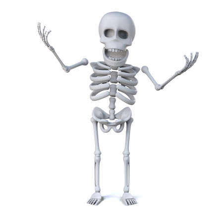 mortal: 3d render of a skeleton laughing and waving his arms in the air