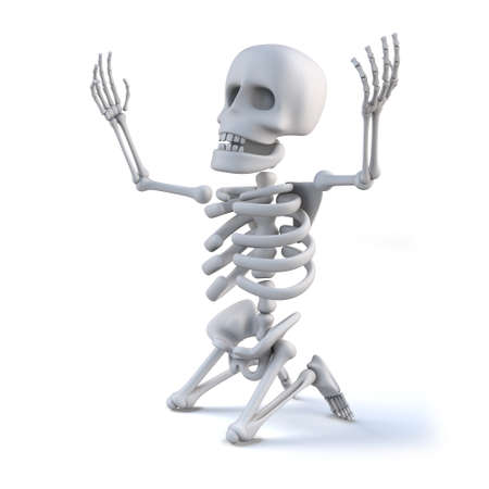 arms raised: 3d render of a skeleton kneeling on the ground with arms raised to the heavens