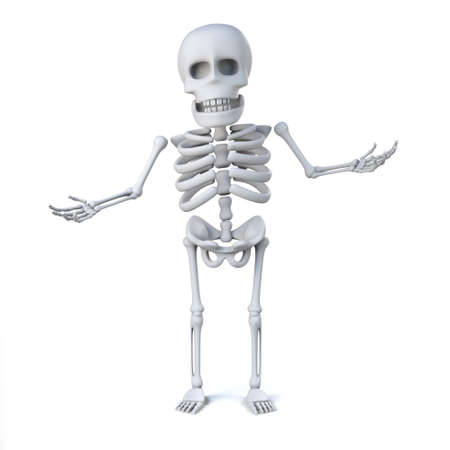 innocent: 3d render of a skeleton with his hands out in innocent gesture Stock Photo