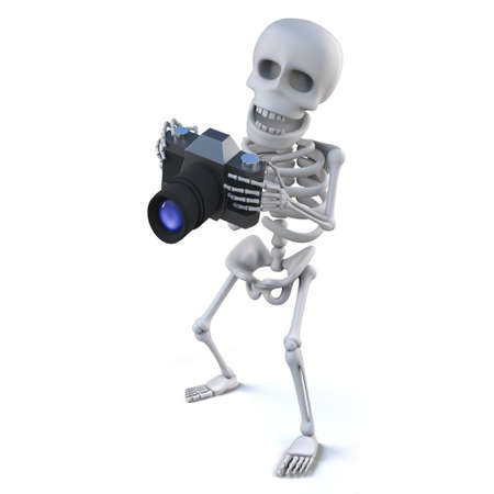 slr camera: 3d render of a skeleton holding an SLR camera
