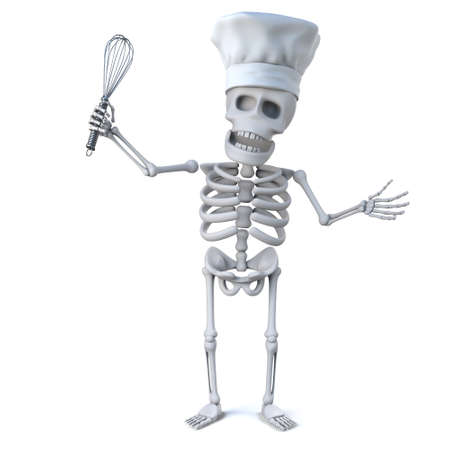 remains: 3d render of a skeleton wearing a chefs hat and holding a whisk. Stock Photo