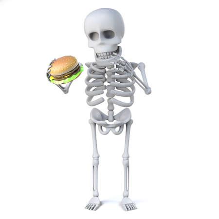 eats: 3d Skeleton eats a beef  burger