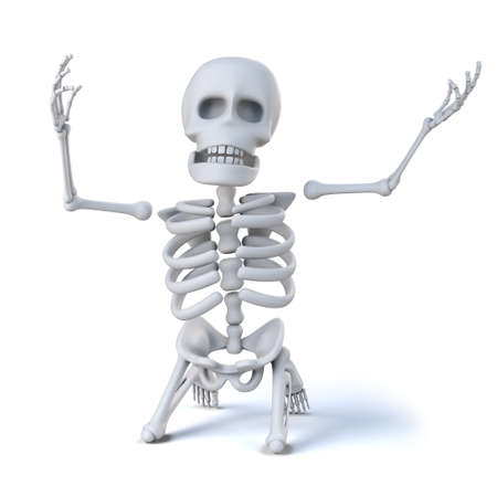 miserable: 3d render of a skeleton on his knees and holding his arms aloft in total despair. Stock Photo