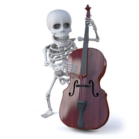 double bass: 3d render of a skeleton playing a double bass